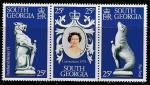 Южная Георгия 1978 год. 25 лет коронации Елизаветы II, 3 марки в сцепке