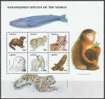Либерия 1999 год. Редкие животные со всего мира, малый лист