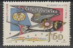 """ЧССР 1962 год. Летящая ласточка с надписью """"FIP"""", эмблема Праги, 1 марка"""