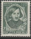 Польша 1952 год. 100 лет со дня смерти Н.В. Гоголя, 1 марка. наклейка