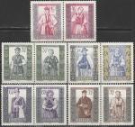 Польша 1960 год. Национальные костюмы, 5 пар марок