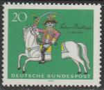 ФРГ 1970 год. 250 лет со дня рождения Карла Фридриха Мюнхгаузена, 1 марка