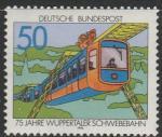 ФРГ 1976 год. 75 лет Вуппертальской канатной дороге, 1 марка