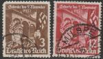 Германия. Рейх 1935 год. 12 лет Маршу к Залу Полководцев, 2 гашёные марки