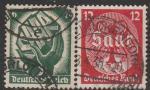 Германия. Рейх 1934 год. Голосование в Сааре 13 января 1935 года, 2 гашёные марки