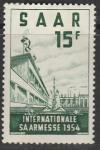 Германия СААР 1954 год. Школа - интернат в Саарбрюкене, 1 марка (с наклейкой)