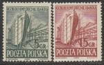 Польша 1952 год. Судостроение. Реконструкция Гданьской верфи, 2 марки. наклейка