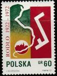 Польша 1972 год. 50 лет Союзу поляков в Германии. Силуэт Кракова, плуг; 1 марка