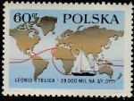 """Польша 1969 год. Кругосветное плавание Леонида Телига. Карта Мира с маршрутом яхты """"Optyu"""", 1 марка"""