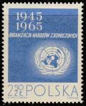 Польша 1965 год. 20 лет ООН. Эмблема, 1 марка