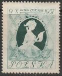 Польша 1957 год. День почтовой марки, 1 марка (с наклейкой)