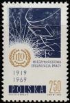 Польша 1969 год. 50 лет Международной Организации труда. Эмблема. 1 марка