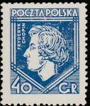 Польша 1927 год. Фредерик Шопен, пианист и композитор; 1 марка (с наклейкой)