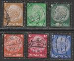 Германия 1934 год. Смерть Президента Пауля фон Гинденбурга, 6 гашёных марок