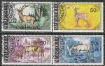 Монголия 1985 год. Благородный олень, 4 гашёные марки