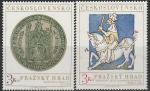 ЧССР 1973 год. Королевский легат на лошади, миниатюра; серебряная печать Карла IV, 2 марки.