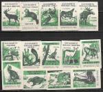 Набор спичечных этикеток. Охраняйте полезных зверей и птиц. 1967 год 14 шт.