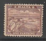Мальта 1901 год. Валетта, порт, 1 марка (наклейка)