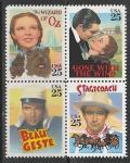 США 1990 год. Плакаты классических кинофильмов, квартблок.