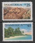 США 1990 год. Америка: природа в начале её открытия, 2 марки.