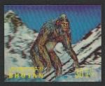Бутан 1970 год. Снежный человек, 1 марка с рифлёным пластиковым покрытием