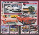 Буркина Фасо 2019 год. Раритетные автомобили, 4 марки + блок (гашёные)