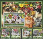 Буркина Фасо 2019 год. Домашние кошки, 4 марки + блок (гашёные)