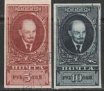 СССР 1925 год. Стандартный выпуск. Портрет В.И. Ленина, 2 б/зубц. марки (гашёные)