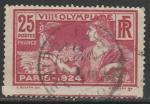 Франция 1924 год. Нотр-Дам и Пон-Нёф, женщина с богиней победы Ники в руке, 1 гашёная марка из серии