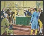 Либерия 1982 год. Подписание конституции США, блок (гашёный)