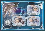 """Габон 2019 год. Полёт космического корабля """"Восход-2"""". Космонавт А.А. Леонов, малый лист (гашёный)"""