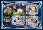 """Габон 2019 год. Космический корабль """"Восток-2"""". Космонавт Герман Титов, малый лист (гашёный)"""