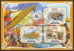 Габон 2019 год. Корабли древности, малый лист (гашёный)