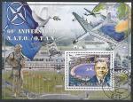 Сан-Томе и Принсипи 2009 год. 60 лет НАТО. Британский политик Х.Л. Исмей. Самолеты. Вертолет, блок (гашёный)