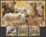 Габон 2020 год. Доисторические животные и люди, 3 марки + блок (гашёные)