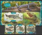 Габон 2020 год. Крокодилы, 3 марки + блок (гашёные)
