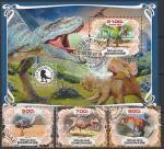 Габон 2019 год. Доисторические животные, 3 марки + блок (гашёные)