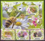 Габон 2019 год. Пчёлы, 3 марки + блок (гашёные)