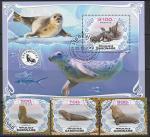 Габон 2019 год. Ластоногие млекопитающие океана, 3 марки + блок (гашёные)