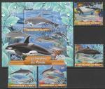 Мали 2020 год. Дельфины, 4 марки + блок (гашёные)