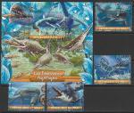 Мали 2020 год. Водные динозавры, 4 марки + блок (гашёные)