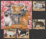 Мали 2020 год. Породы кошек, 4 марки + блок (гашёные)