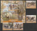 Мали 2020 год. Слоны, 4 марки + блок (гашёные)
