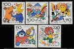 ФРГ 1998 год. Персонажи мультфильмов, 5 марок (гашёные)