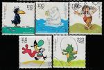 ФРГ 1999 год. Персонажи мультфильмов, 5 марок (гашёные)