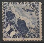 Тува 1934 год. Авиапочта. Самолёт, сарлыки, 1 марка (наклейка)