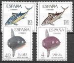 Испанская Сахара 1966 год. Рыбы. Луна-рыба и тунец. 4 марки