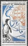 Франция 1972 год. Открытие островов Крозе и Кергелен. Пингвин и карта. 1 марка