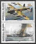 Маршалловы острова 1995 год. История Второй мировой войны. Потопление линкора Тирпиц. 2 марки. (н84)