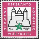 Непочтовая марка. Германия-Эсперанто. Конгресс в Вюрцбурге. 1963 год